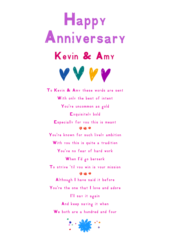 Fun and Amusing Anniversary Poetry Card 1