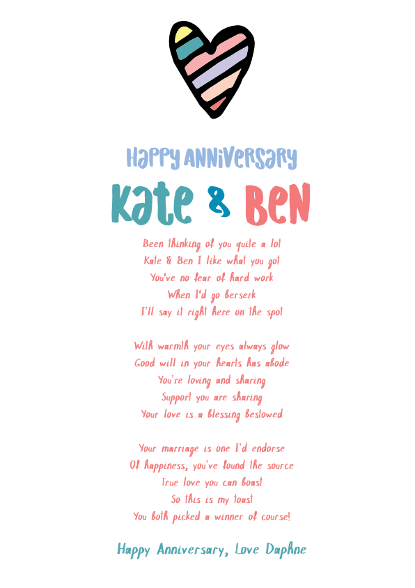 Fun and Amusing Anniversary Poetry Card 10