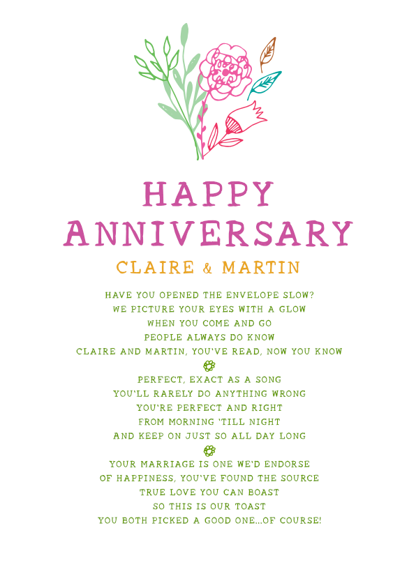 Fun and Amusing Anniversary Poetry Card 11