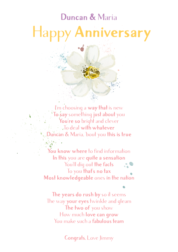 Fun and Amusing Anniversary Poetry Card 14