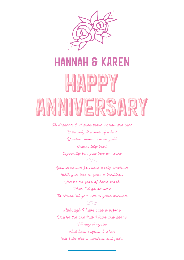Fun and Amusing Anniversary Poetry Card 2