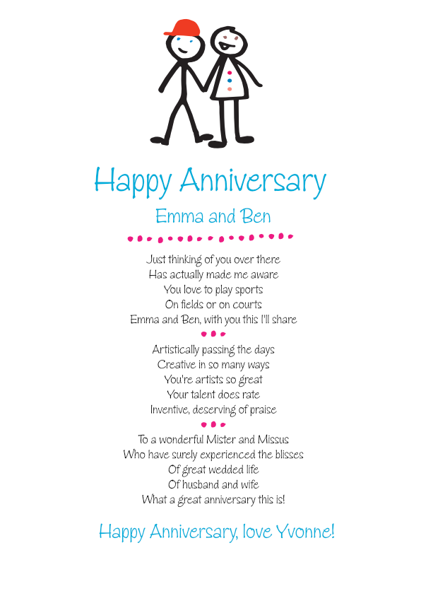 Fun and Amusing Anniversary Poetry Card 4