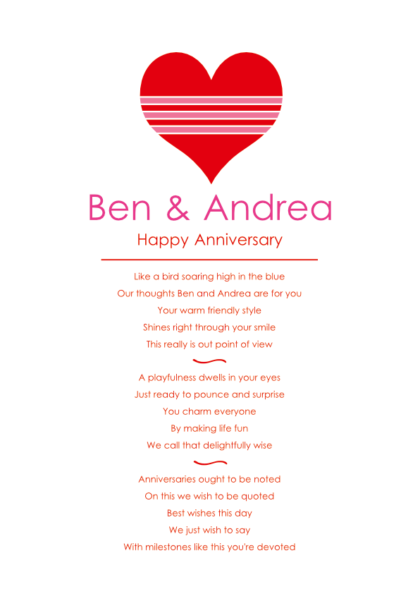Fun and Amusing Anniversary Poetry Card 8