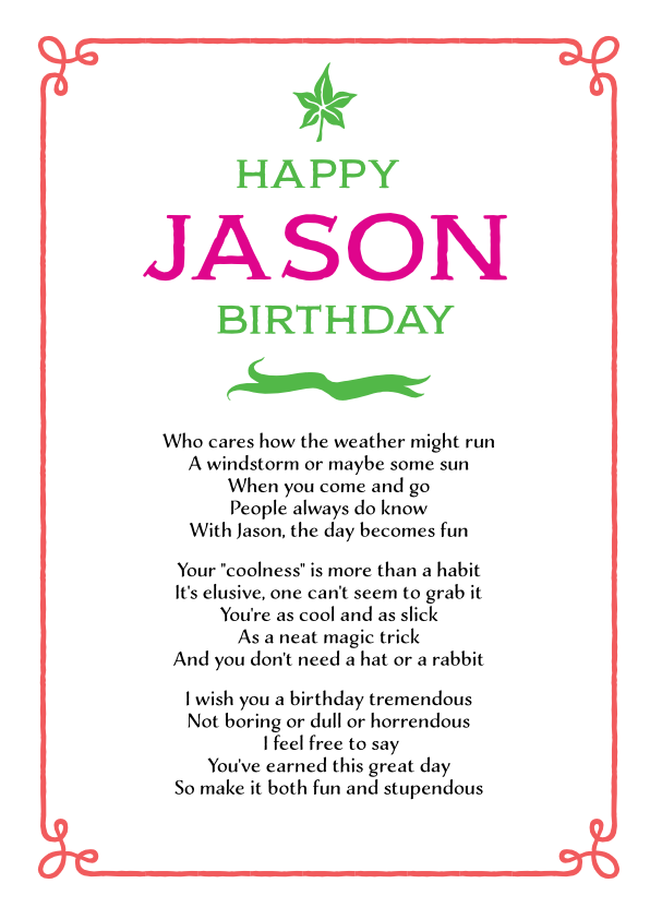 Fun and Amusing Birthday Poetry Card 13
