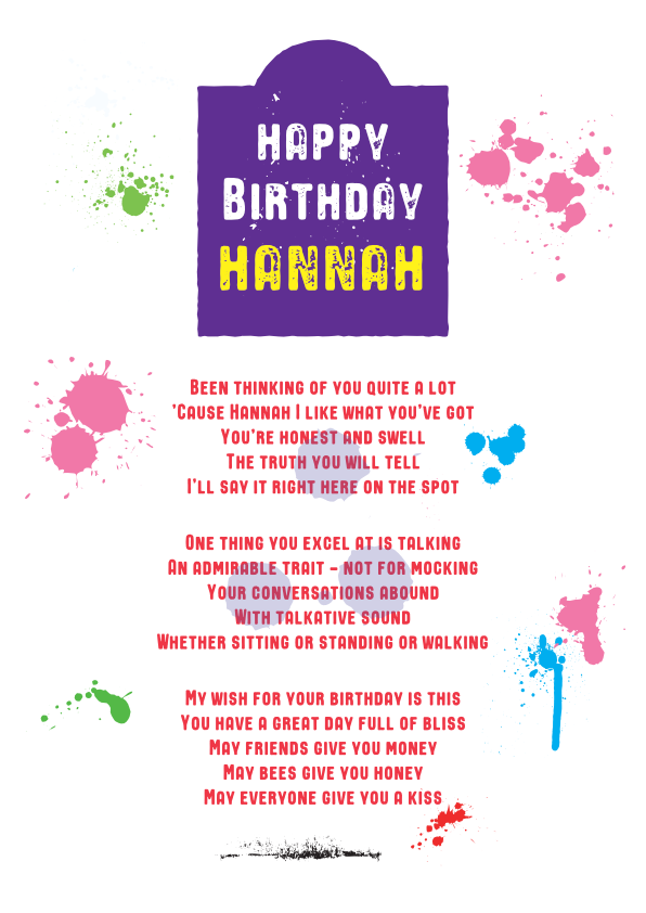 Fun and Amusing Birthday Poetry Card 14
