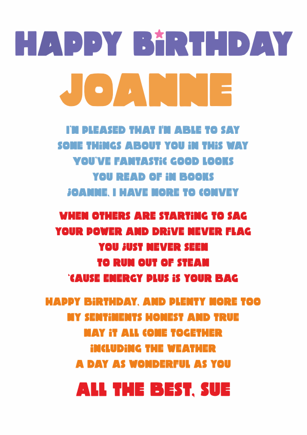 Fun and Amusing Birthday Poetry Card 17