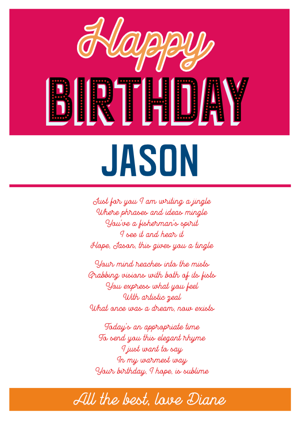 Fun and Amusing Birthday Poetry Card 19