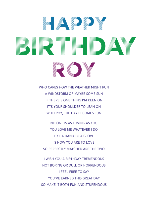 Fun and Amusing Birthday Poetry Card 2