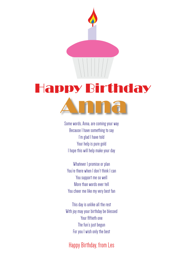 Fun and Amusing Birthday Poetry Card 20