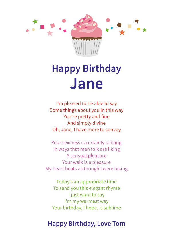 Fun and Amusing Birthday Poetry Card 3