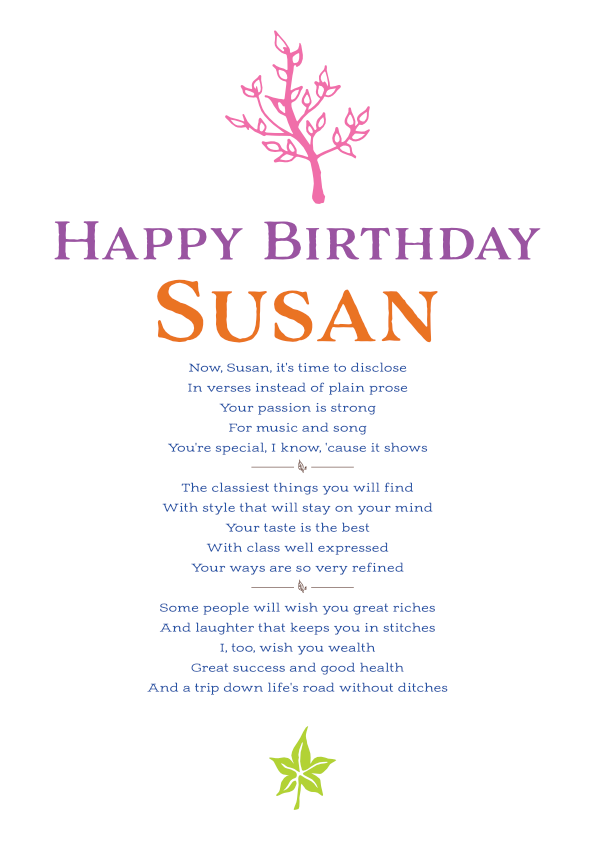 Fun and Amusing Birthday Poetry Card 4