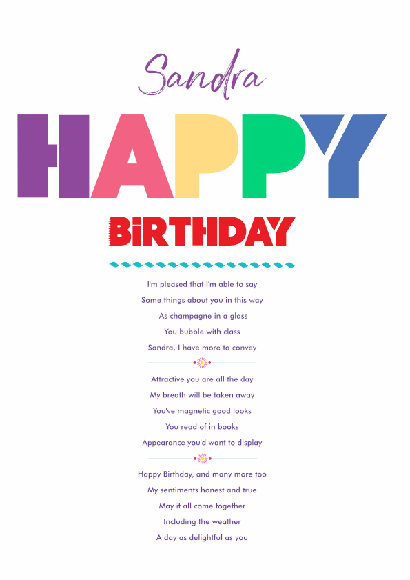 Fun and Amusing Birthday Poetry Card 6