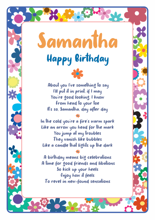 Fun and Amusing Birthday Poetry Card 7