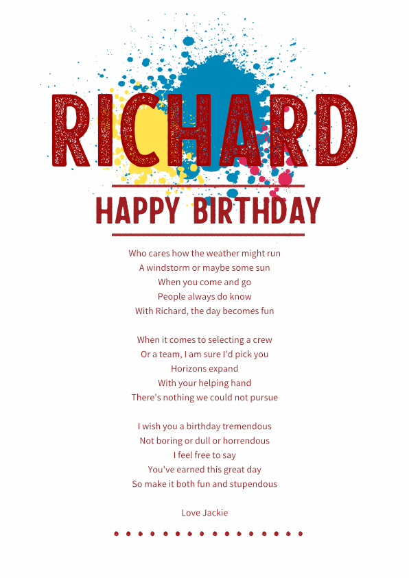 Fun and Amusing Birthday Poetry Card 8