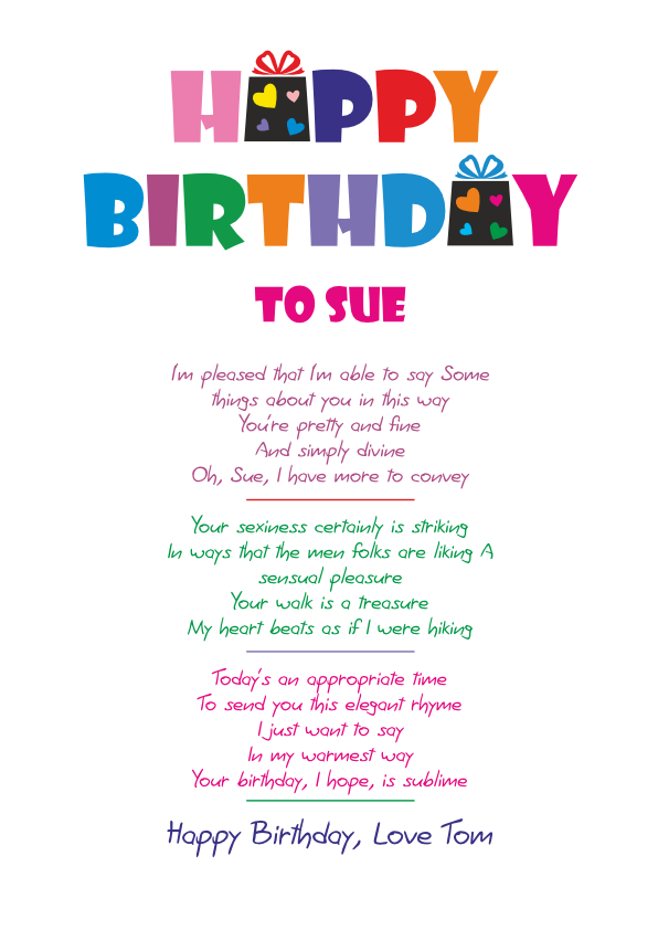 Fun and Amusing Birthday Poetry Card 9