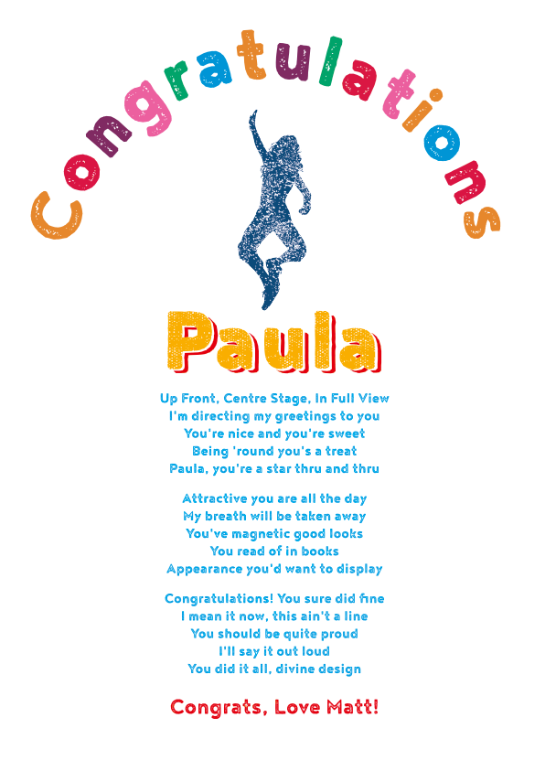 Fun and Amusing Congrats Poetry Card 1