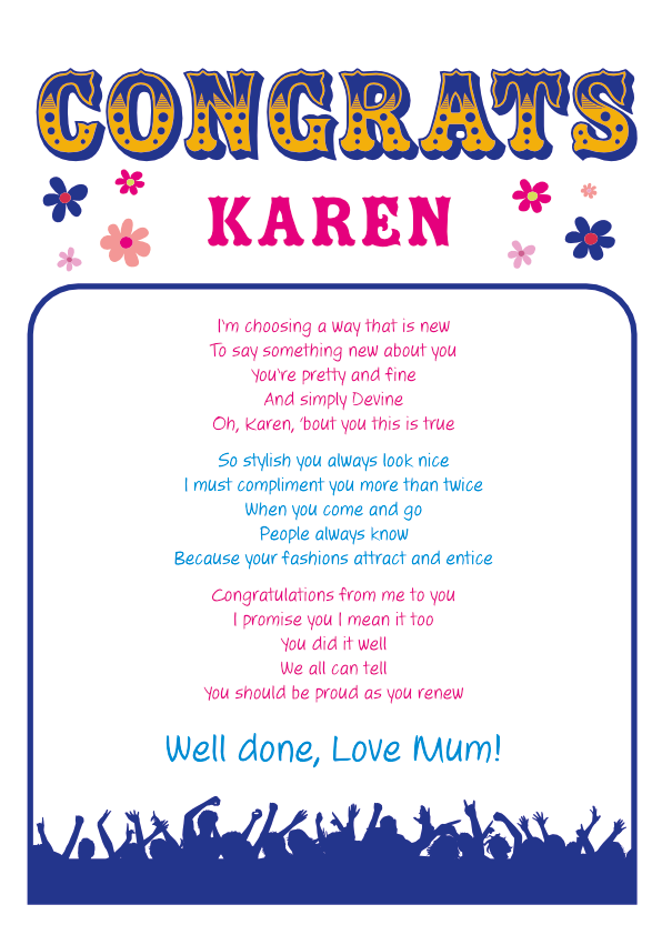 Fun and Amusing Congrats Poetry Card 4