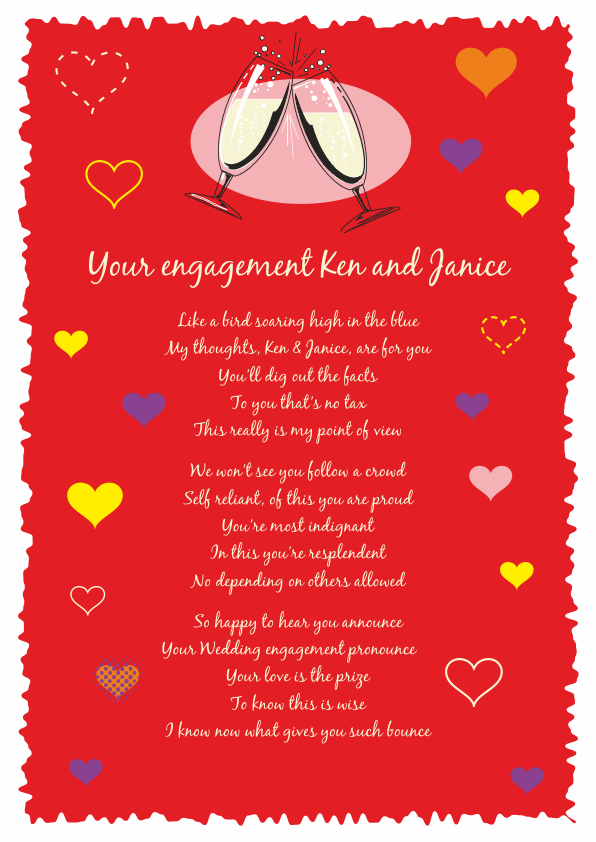 Fun and Amusing Engagement Poetry Card 2