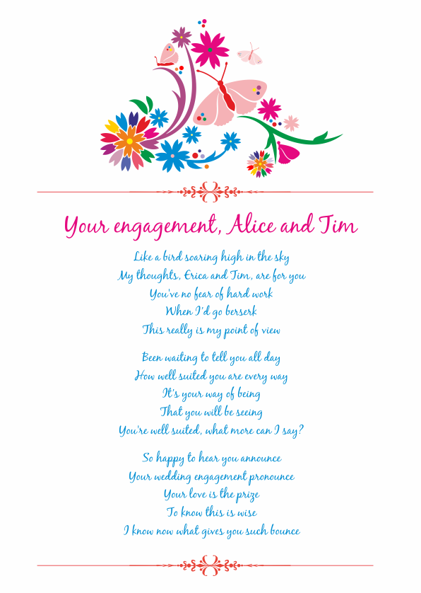 Fun and Amusing Engagement Poetry Card 4
