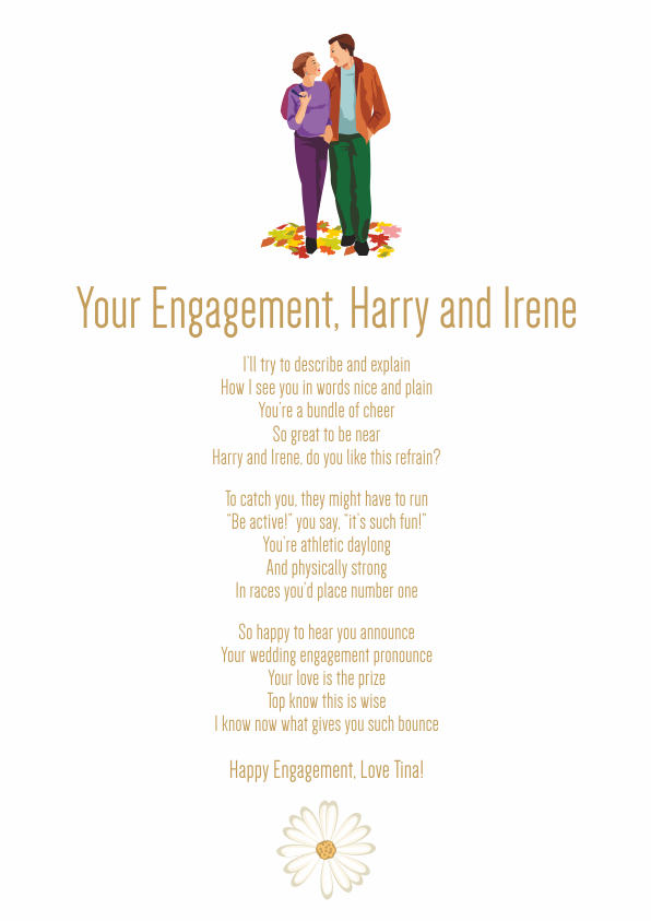 Fun and Amusing Engagement Poetry Card 6