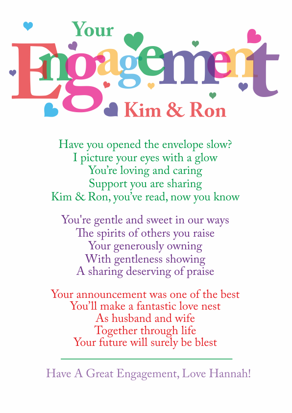 Fun and Amusing Engagement Poetry Card 7