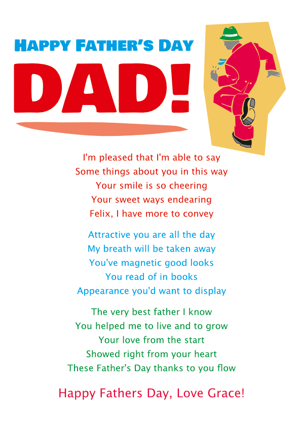 Fun and Amusing Fathers Day Poetry Card 1