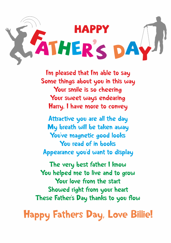 Fun and Amusing Fathers Day Poetry Card 10