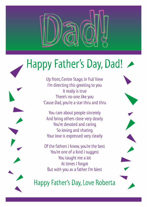Fun and Amusing Fathers Day Poetry Card 3