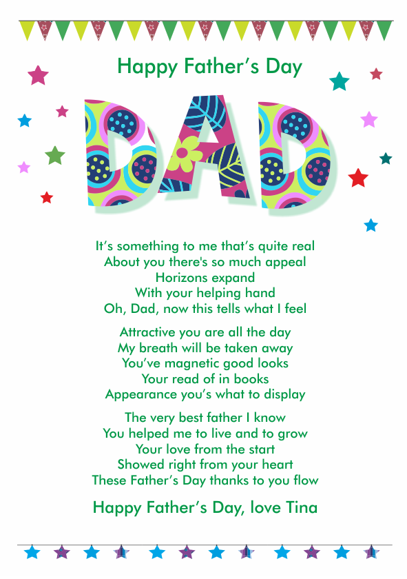 Fun and Amusing Fathers Day Poetry Card 4