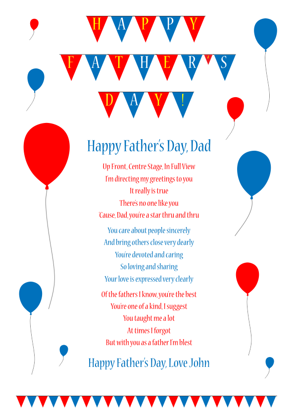 Fun and Amusing Fathers Day Poetry Card 5