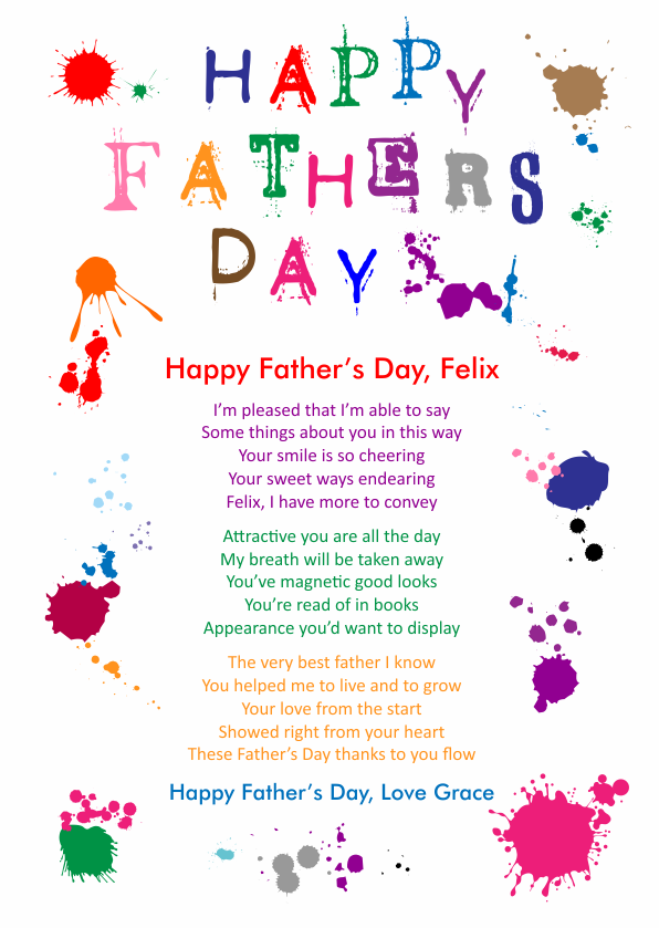 Fun and Amusing Fathers Day Poetry Card 6