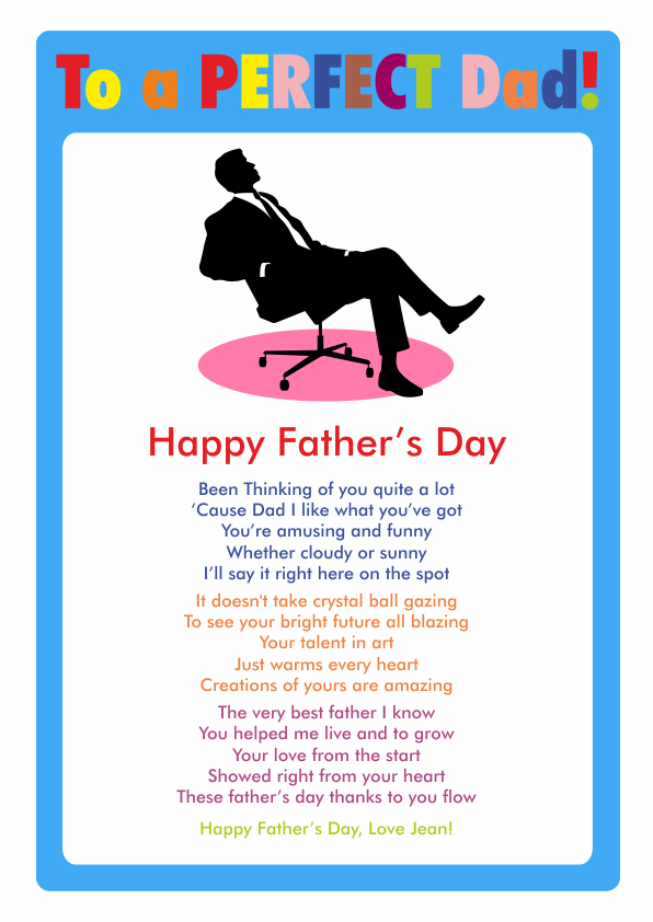 Fun and Amusing Fathers Day Poetry Card 7