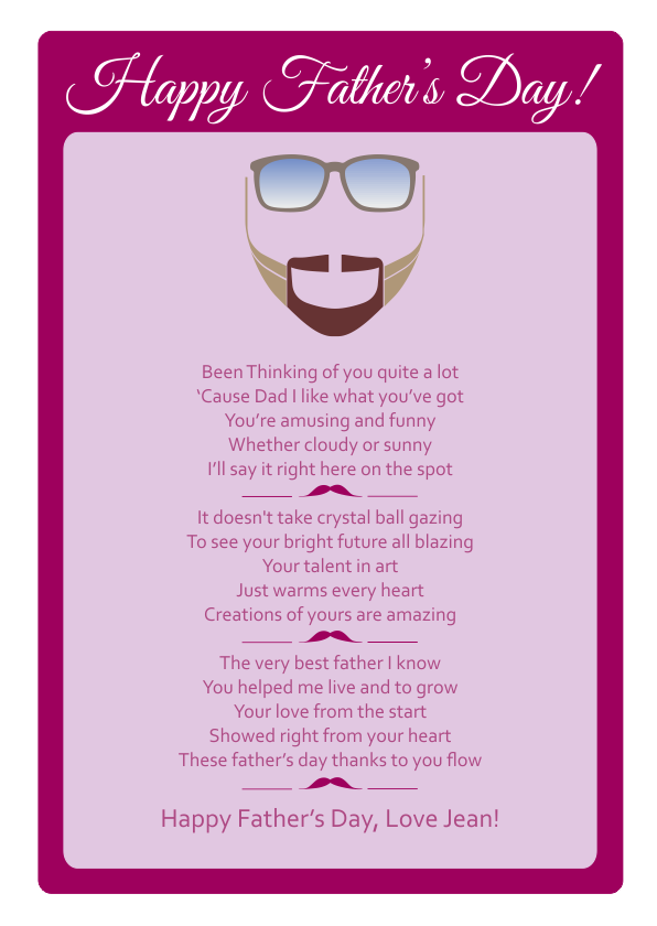 Fun and Amusing Fathers Day Poetry Card 9