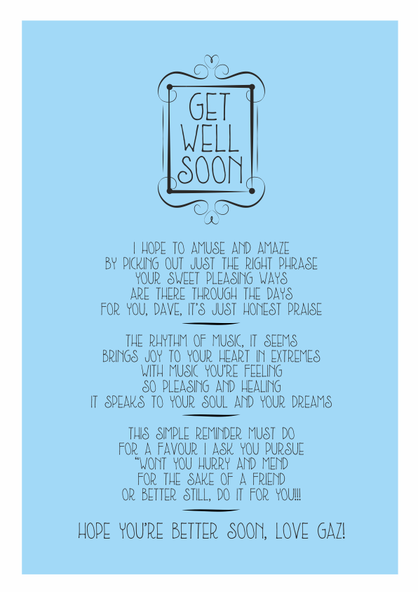 Fun and Amusing Get Well Soon Poetry Card 4