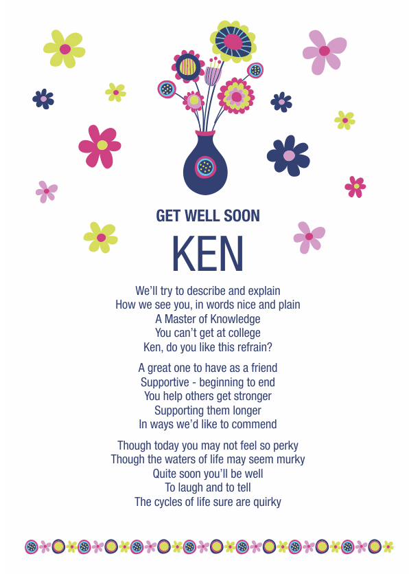 Fun and Amusing Get Well Soon Poetry Card 5