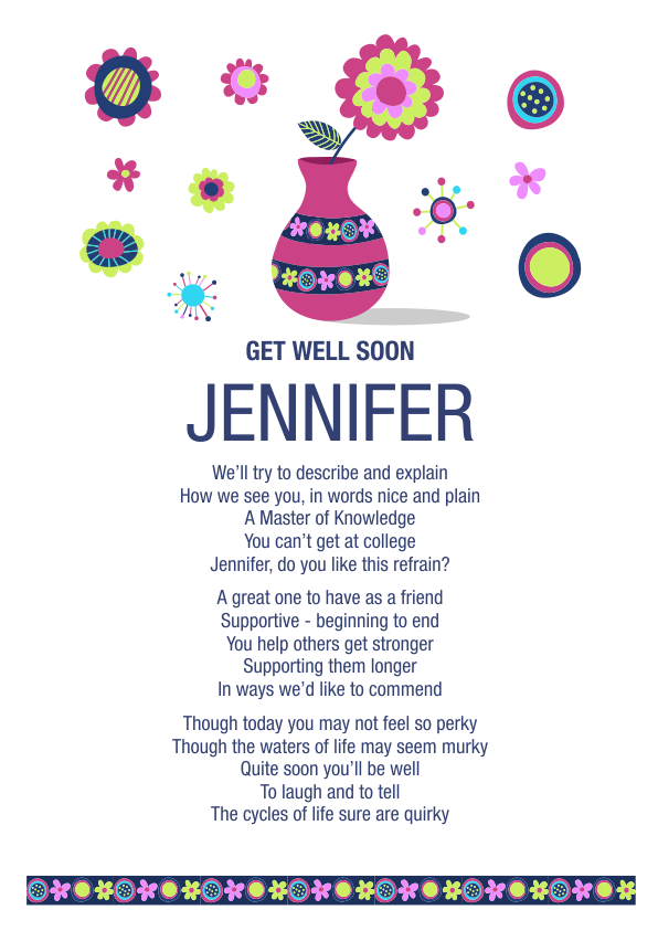 Fun and Amusing Get Well Soon Poetry Card 6