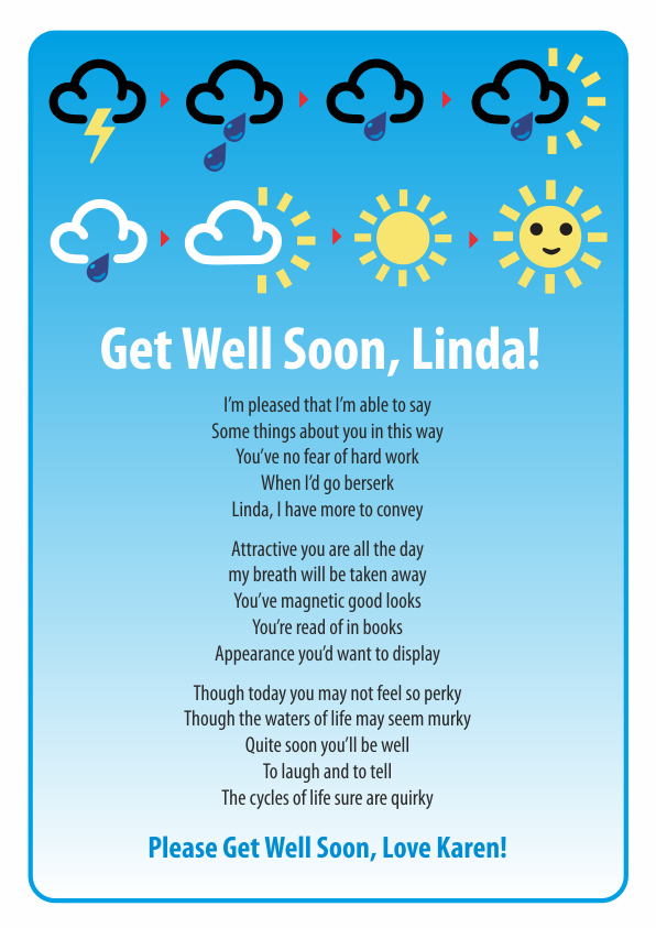 Fun and Amusing Get Well Soon Poetry Card 7