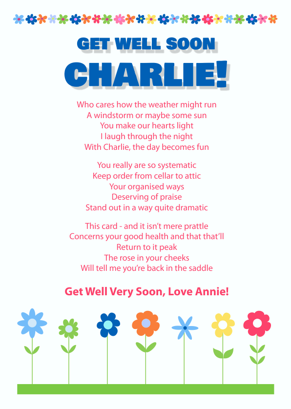 Fun and Amusing Get Well Soon Poetry Card 8