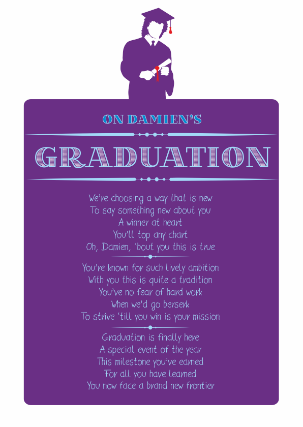 Fun and Amusing Graduation Poetry Card 3