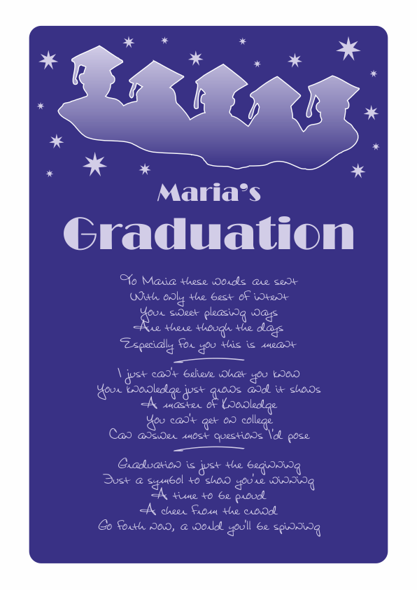 Fun and Amusing Graduation Poetry Card 4