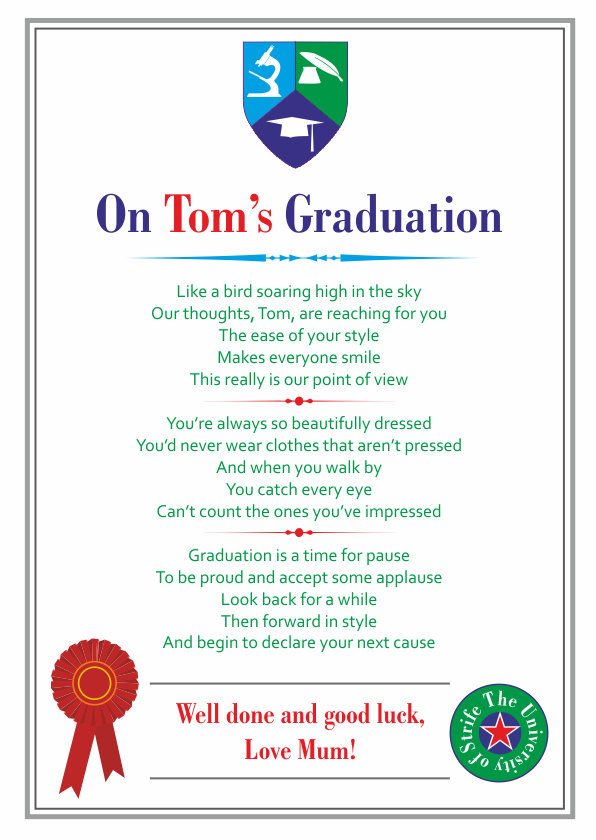 Fun and Amusing Graduation Poetry Card 5