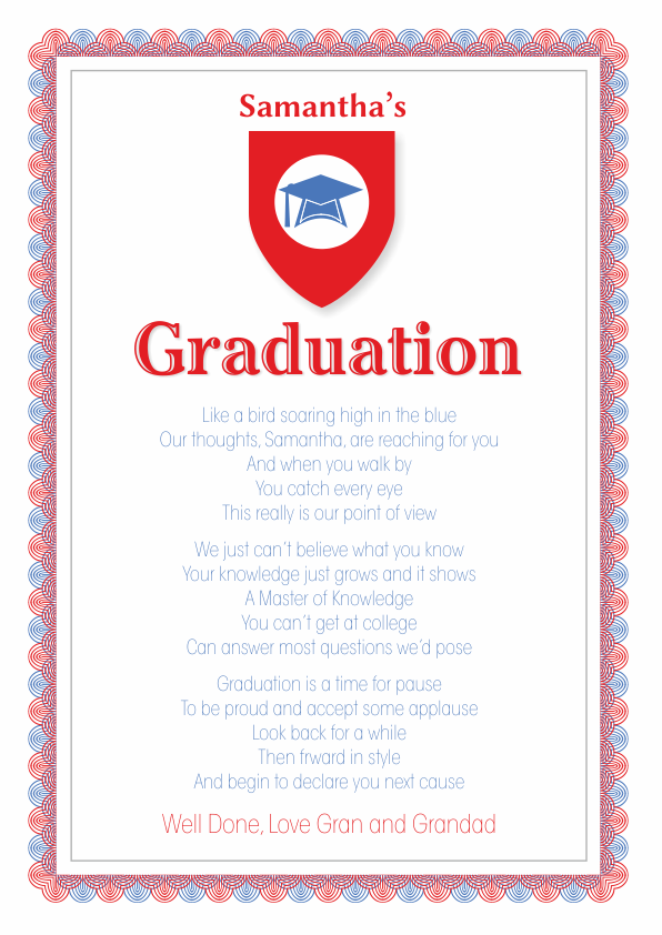 Fun and Amusing Graduation Poetry Card 6