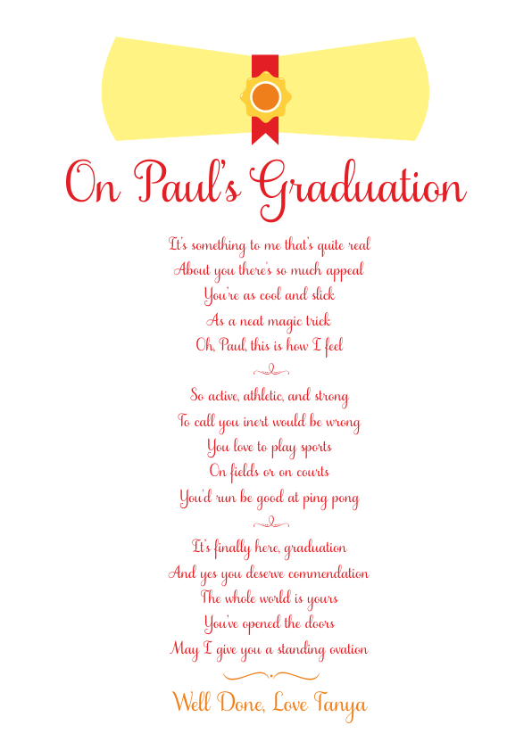 Fun and Amusing Graduation Poetry Card 8
