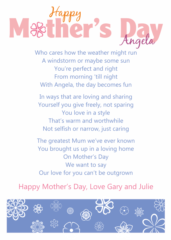 Fun and Amusing Mothers Day Poetry Card 1
