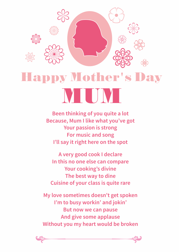 Fun and Amusing Mothers Day Poetry Card 2