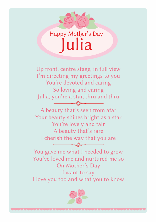 Fun and Amusing Mothers Day Poetry Card 4