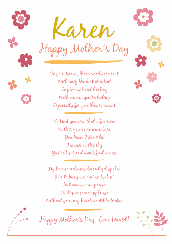 Fun and Amusing Mothers Day Poetry Card 5