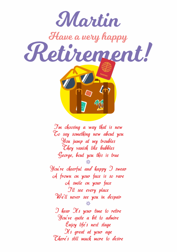 Fun and Amusing Retirement Poetry Card 1