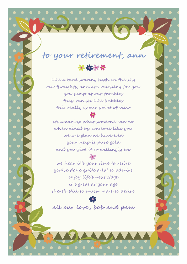 Fun and Amusing Retirement Poetry Card 2