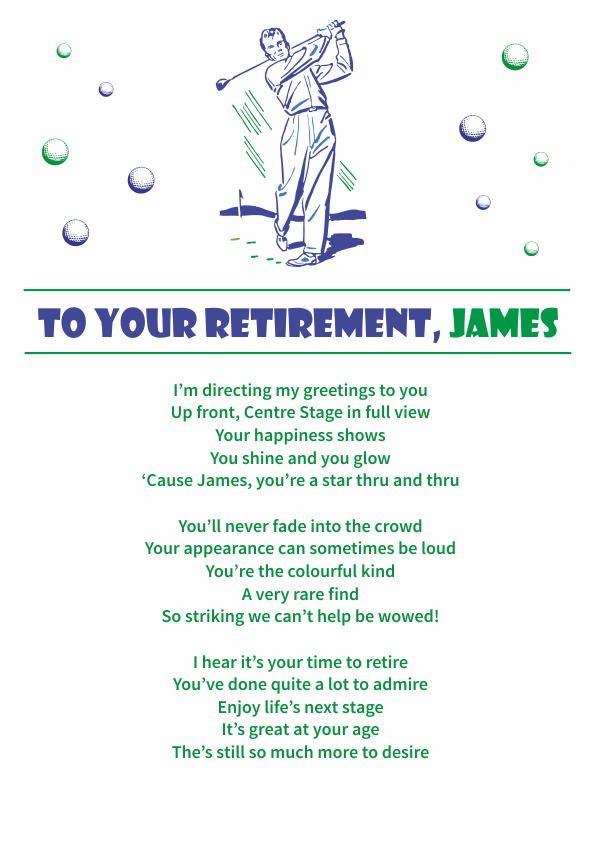 Fun and Amusing Retirement Poetry Card 4